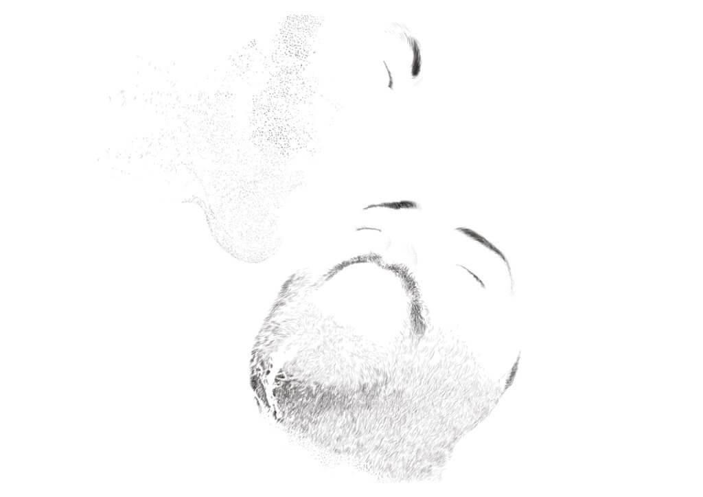 Licking Cum Off Face, dessin et impression numérique, 29.7 x 21 cm, 2017
