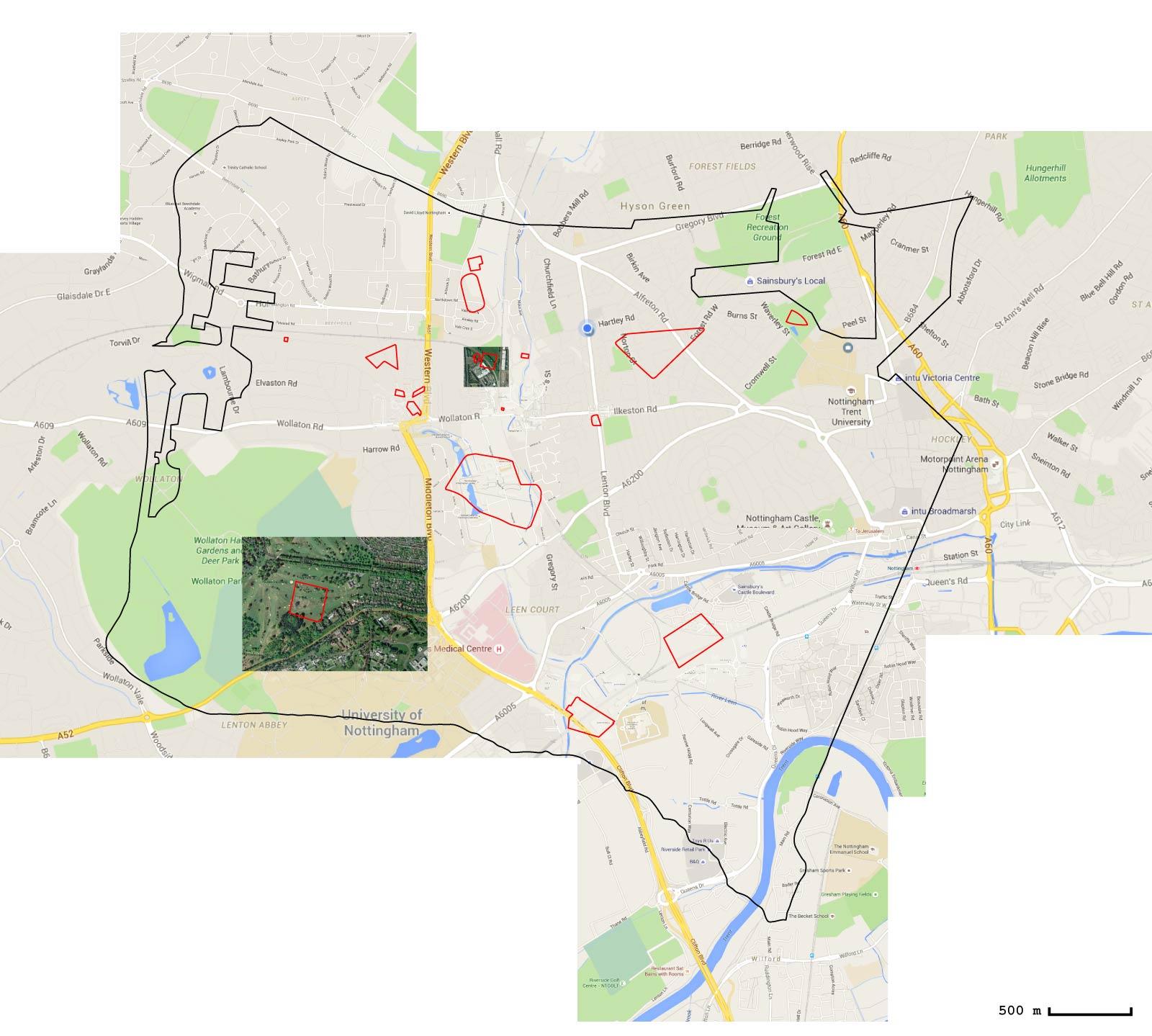 Superposition des contours de la ville du Port au-dessus d'une portion de carte de Nottingham, avec les mêmes points de référence que pour Heimat 2015-2016.